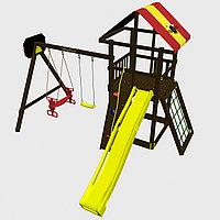 """Игровой комплекс  """"Родео с качелями Дуэт"""", цветные паруса, лестница из дерева, скалодром, качели, горка, фото 1"""