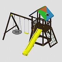 """Игровой комплекс  """"Родео с кольцом"""", цветная крыша, канатная сетка, горка, качели, фото 1"""