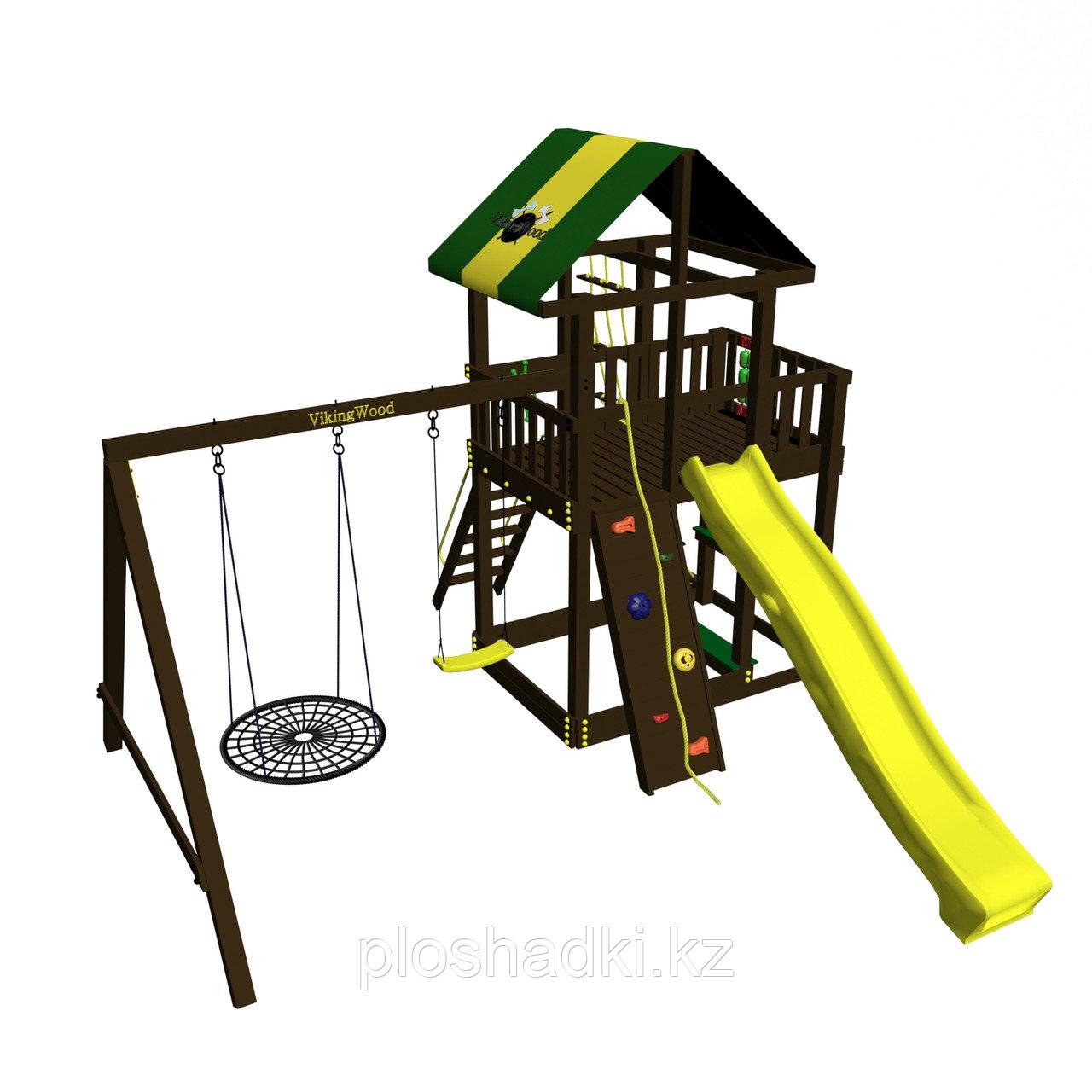 """Игровой комплекс """"Сиело с кольцом"""", цветная крыша, лестница из дерева, канатная сетка, качели 2, горка"""