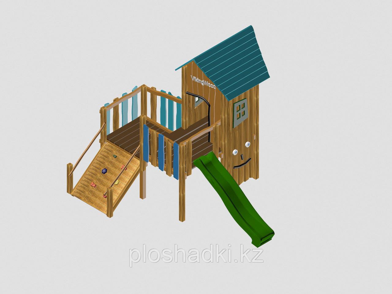"""Игровой комплекс """"Вилсон"""", крыша из дерева, лестница-скалодром, домик, горка, скалодром с каменными зацепками"""