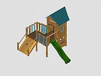 """Игровой комплекс """"Вилсон"""", крыша из дерева, лестница-скалодром, домик, горка, скалодром с каменными зацепками, фото 1"""