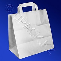 PAP STAR Пакет-сумка бумажная прочная 25х26+17см ручки плоские 70гр/м2
