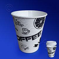 Виридо Стакан бумажный 300мл для горячих напитков 50 шт/уп Черный кофе
