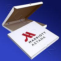 Россия Пицца-коробка гофра 40х40х3см 50шт/уп белая с лого Marriott Astana