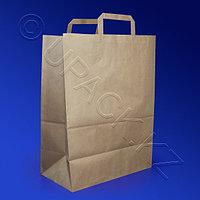 Россия Пакет-сумка бумажная прочная 45х35+15см крафт ручки плоские 70гр/м2