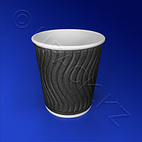 Казахстан Стакан бумажный 200мл двухслойный черный гофрированный 37 шт/уп