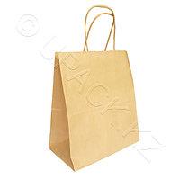 Россия Пакет-сумка бумажная прочная 25х22+12см крафт ручки крученые 70гр/м2