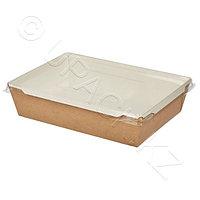Россия Упаковка крафт/ламин 20х14х5,5см 1000мл с прозрачной крышкой ECO OPSALAD 1000