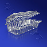 Kazakhstan Контейнер пластиковый 1050мл PS прозрачный с нераздельной крышкой 19,0х8,5х6,5см 350 шт/кор ПР-К-19В A