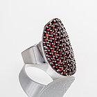 Кольцо из серебра с природным богемским гранатом, фото 2