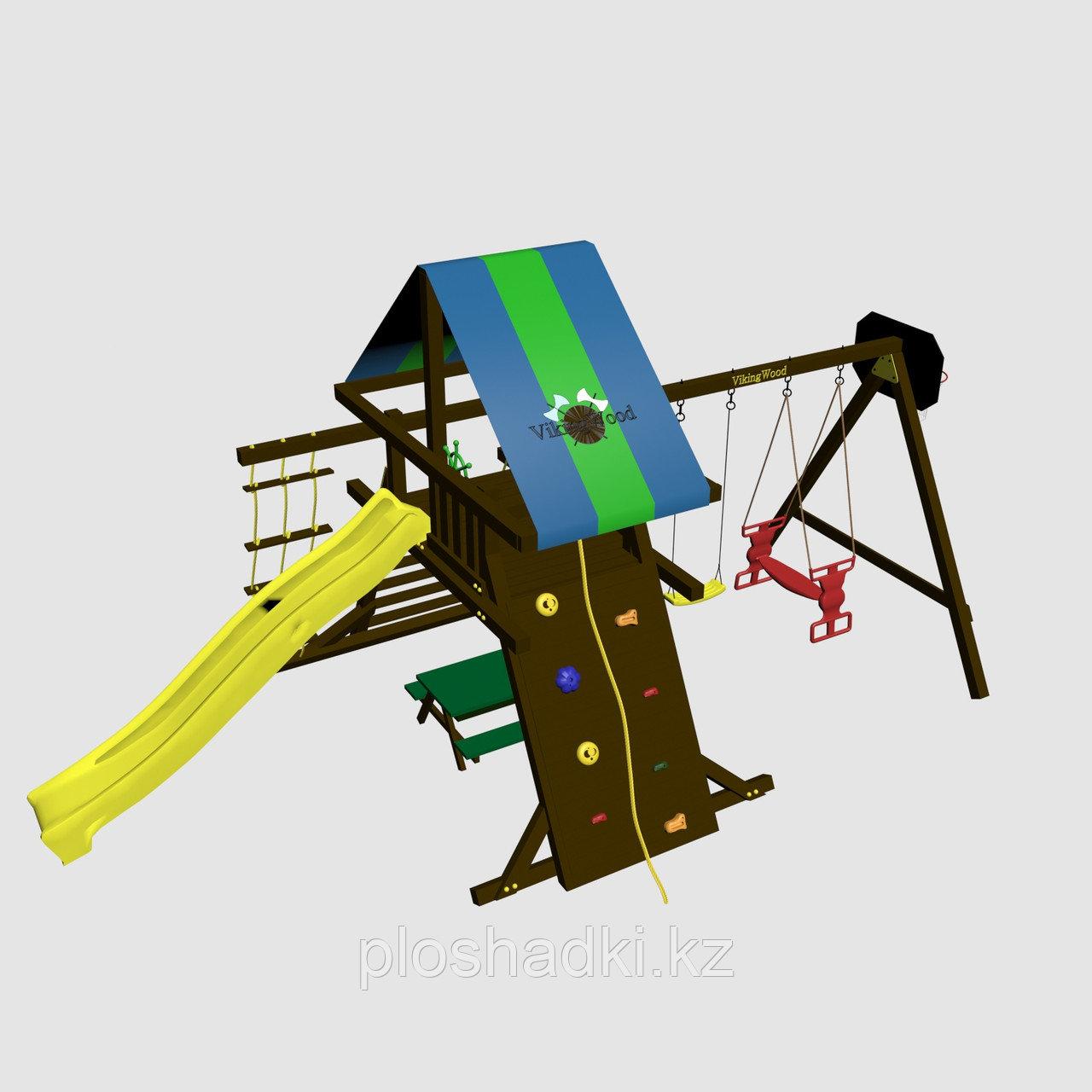 """Игровой комплекс """"Амиго с качелями Дуэт"""", крыша цветная, горка-скат, канатная лестница"""