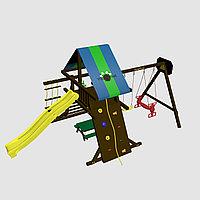 """Игровой комплекс """"Амиго с качелями Дуэт"""", крыша цветная, горка-скат, канатная лестница, фото 1"""