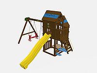 """Игровой комплекс """"Макомбо"""", деревянная крыша и лестница, качели 2, штурвал, горка, баскетбольный щит, фото 1"""