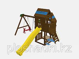 """Игровой комплекс """"Макомбо"""", деревянная крыша и лестница, качели 2, штурвал, горка, баскетбольный щит"""