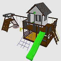 """Игровой комплекс """"Лоут 3"""",  песочница, столик с лавочками, домик с терассой, качели"""