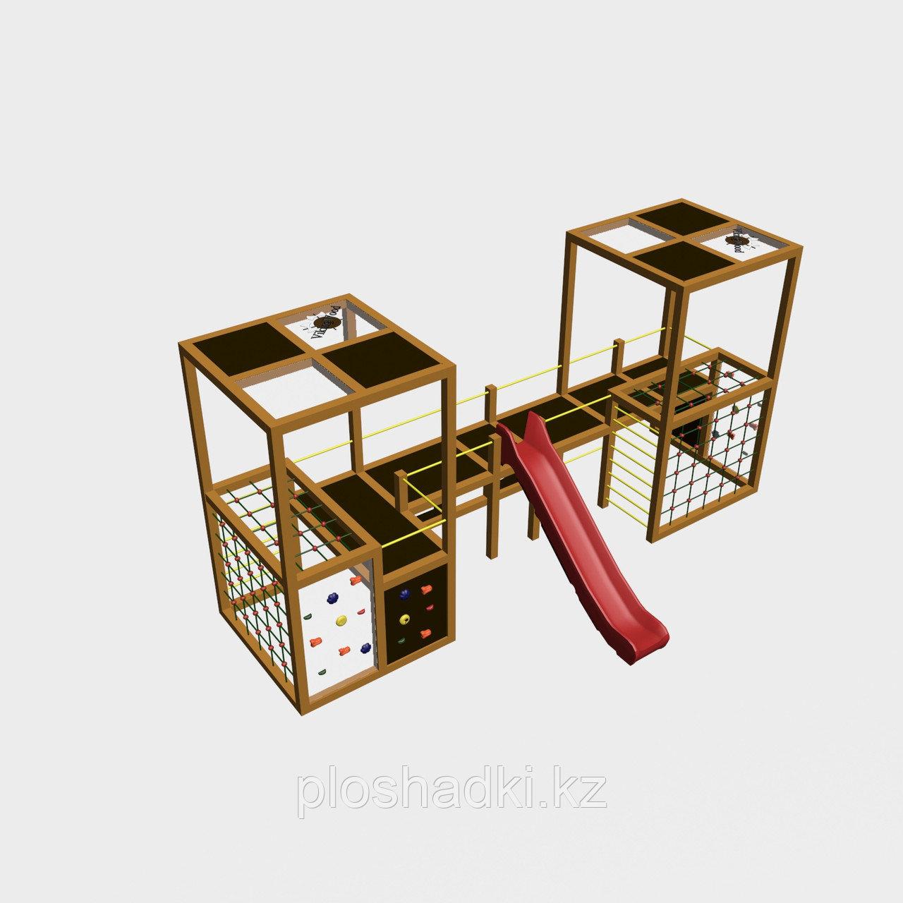 """Игровой комплекс """"Куб 3"""", канатная сетка, крыша, скат, органическое стекло"""