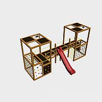 """Игровой комплекс """"Куб 3"""", канатная сетка, крыша, скат, органическое стекло, фото 1"""