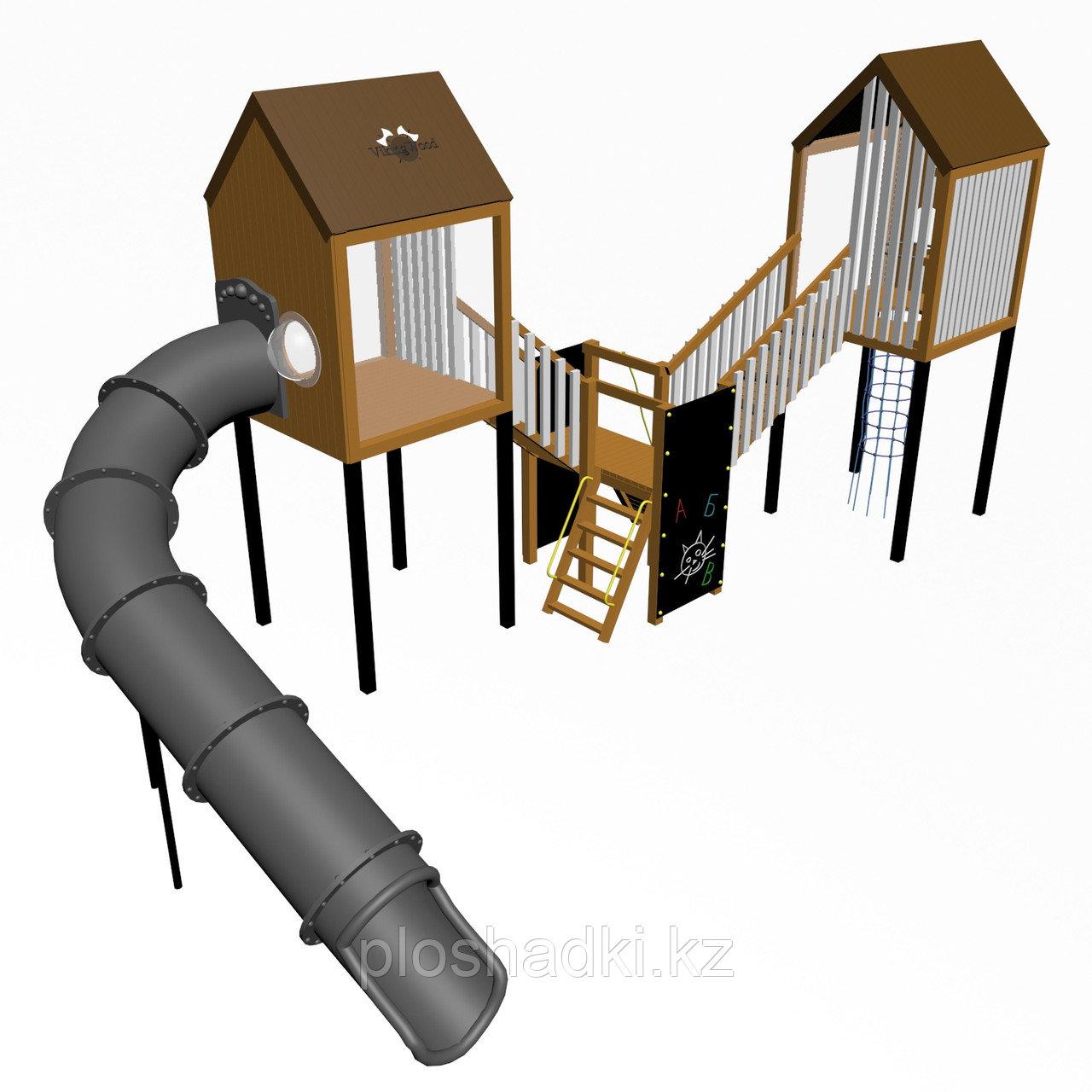 """Игровой комплекс """"Гуапо 1"""", канатная сетка, иллюминаторы, крыша деревянная"""