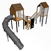 """Игровой комплекс """"Гуапо 1"""", канатная сетка, иллюминаторы, крыша деревянная, фото 1"""