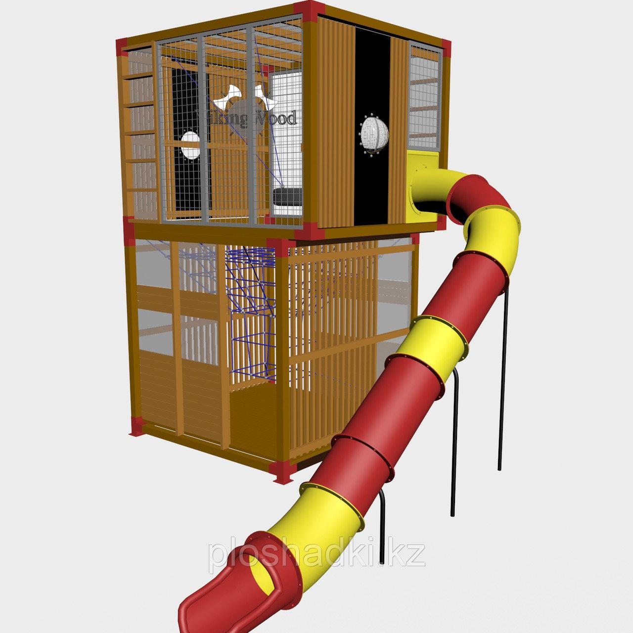 """Игровой комплекс """"Куб 1"""", качалка, скат, иллюминаторы, крыша"""
