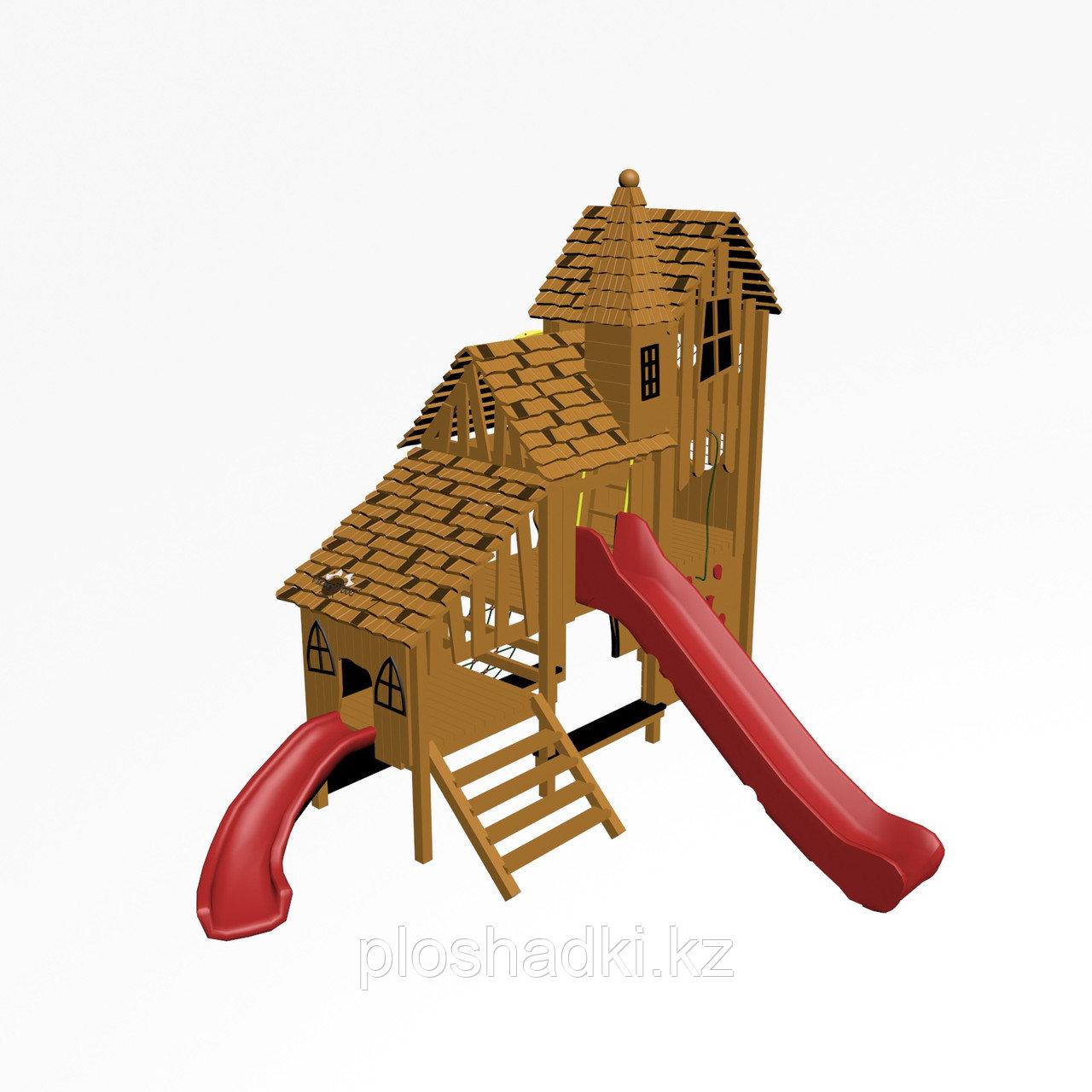 """Игровой комплекс """"Тироль 1"""", канатная сетка, скаты, доска для рисования, скамейки, крыша деревянная"""