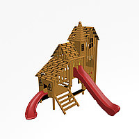 """Игровой комплекс """"Тироль 1"""", канатная сетка, скаты, доска для рисования, скамейки, крыша деревянная, фото 1"""