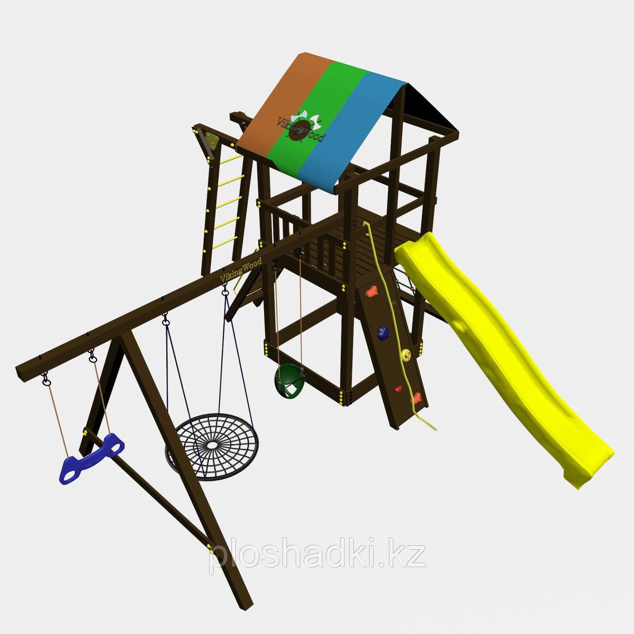 """Игровой комплекс """"Родео с рукоходом"""", цветная крыша, канатная сетка, скалодром, качели"""