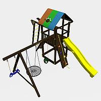 """Игровой комплекс """"Родео с рукоходом"""", цветная крыша, канатная сетка, скалодром, качели, фото 1"""