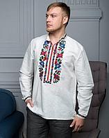 Вышиванка мужская Борщивськи барви лён белый