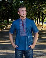 Вышиванка мужская Віктор батист синий