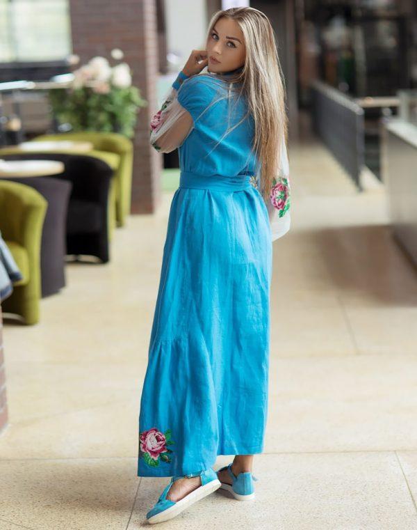 Платье Троянди лен 428синій+сітка (малюнок) - фото 2