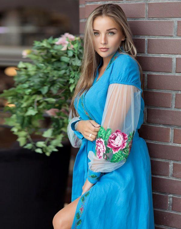 Платье Троянди лен 428синій+сітка (малюнок) - фото 1