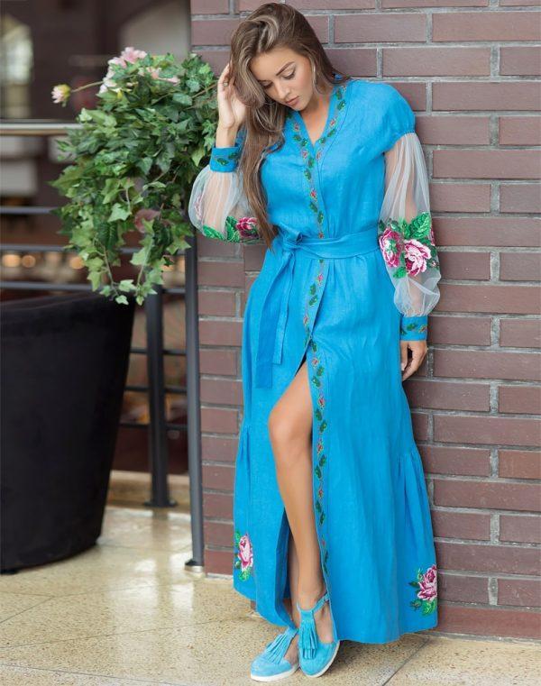 Платье Троянди лен 428синій+сітка (малюнок) - фото 3