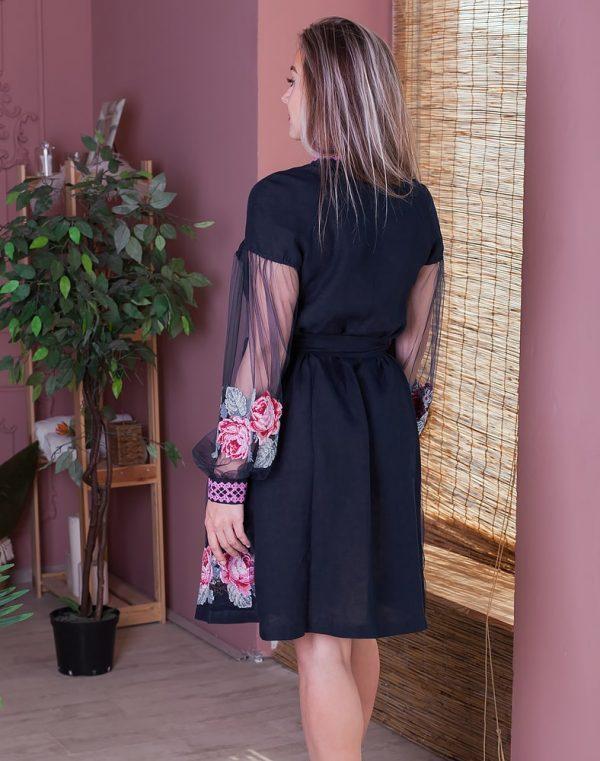 Платье женское РОЗЫ, арт. ВП-136, лен голубой - фото 2