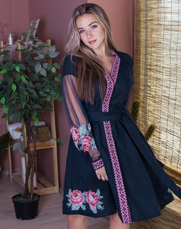 Платье женское РОЗЫ, арт. ВП-136, лен голубой - фото 1