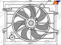 Диффузор радиатора в сборе HYUNDAI TUCSON 04-09 /KIA SPORTAGE 04-09 2,0i /2,0d