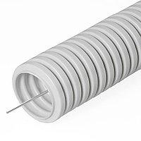 Ø16мм Труба ПВХ гибкая гофра, лёгкая с протяжкой, 100м, цвет серый DKC, фото 1