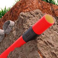 Двустенная труба Ø50мм ПНД гибкая для кабельной канализации с протяжкой, в бухте 100м, цвет красный, фото 1