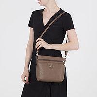 Сумка женская, отдел на молнии, 2 наружных кармана, длинный ремень, цвет светло-коричневый