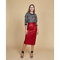 """Юбка женская MINAKU """"Leather look"""", длина миди, размер 42, цвет красный"""