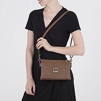 Сумка женская, 2 отдела на молнии, наружный карман, длинный ремень, цвет светло-коричневый