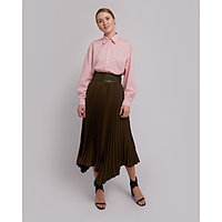 Юбка женская гофре MINAKU: Leather look, цвет оливковый, размер 42