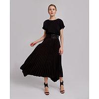Юбка женская гофре MINAKU: Leather look, цвет чёрный, размер 42