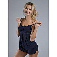 Пижама женская (топ, шорты) «АССОЛЬ», цвет тёмно-синий, размер 52