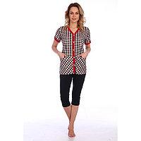 Костюм женский «Клетка» (рубашка, бриджи), цвет песочно-красный, размер 56