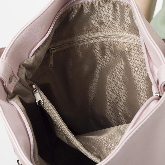 Сумка женская, отдел на молнии, 2 наружных кармана, длинный ремень, цвет белый/бордовый - фото 4
