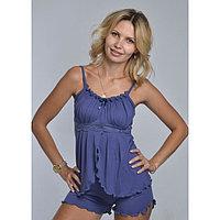 Пижама женская (топ, шорты) «АССОЛЬ», цвет индиго, размер 42