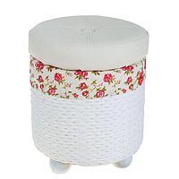 Короб для хранения (пуф) складной «Розы», круглый, 30×30×37 см, цвет белый