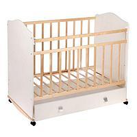 Детская кроватка «Морозко» на колёсах или качалке, с ящиком, цвет белый/берёза
