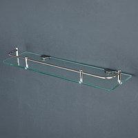 Полка для ванной комнаты 40×12×6 см, нержавеющая сталь, стекло